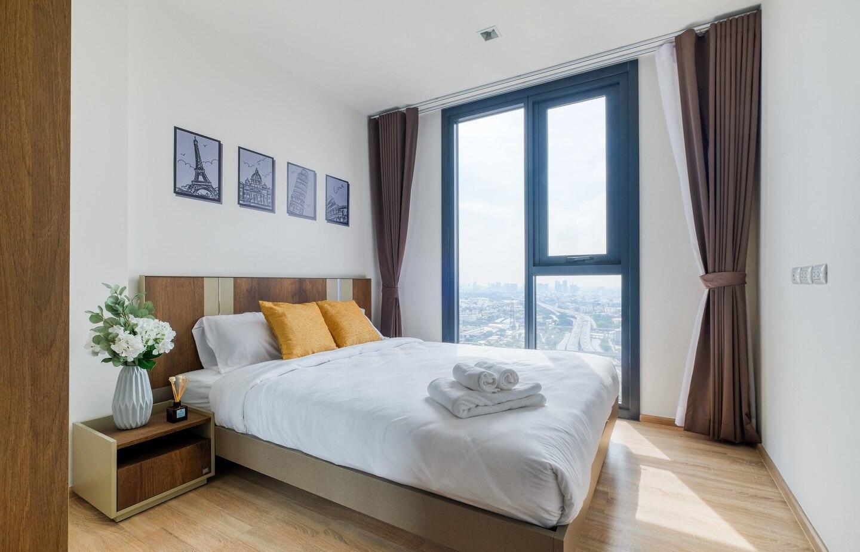 Cozy 1bed w/Balcony, Pool Access and Stunning View อพาร์ตเมนต์ 1 ห้องนอน 1 ห้องน้ำส่วนตัว ขนาด 32 ตร.ม. – รัชดาภิเษก