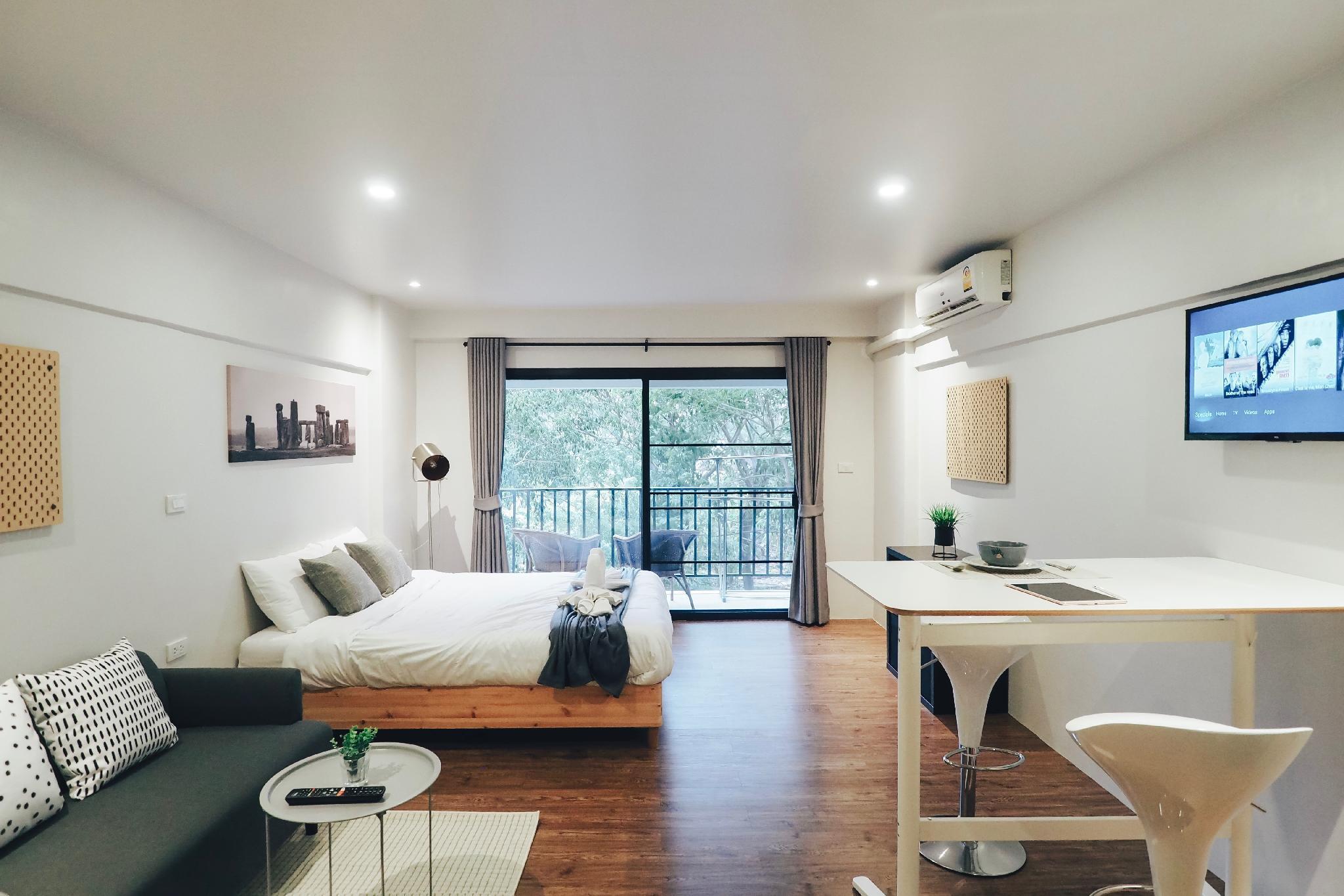 ❤ Stylish room & garden view with balcony ❤ สตูดิโอ อพาร์ตเมนต์ 1 ห้องน้ำส่วนตัว ขนาด 35 ตร.ม. – นิมมานเหมินทร์