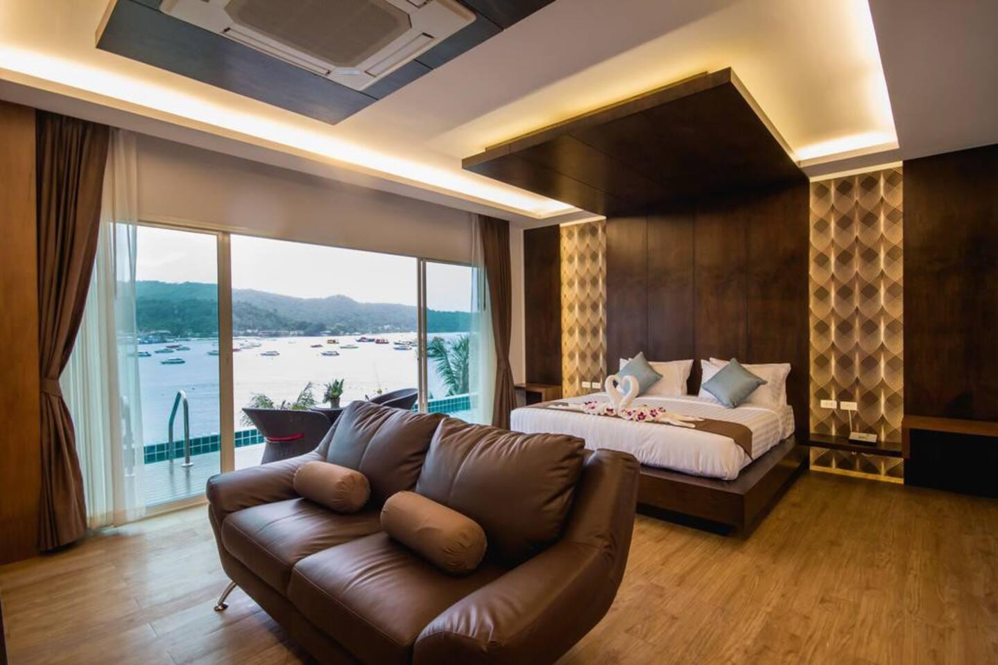 LUXURY POOL & SEA VIEW ROOM (3RD FLOOR) สตูดิโอ บังกะโล 1 ห้องน้ำส่วนตัว ขนาด 40 ตร.ม. – อ่าวโละดาลัม